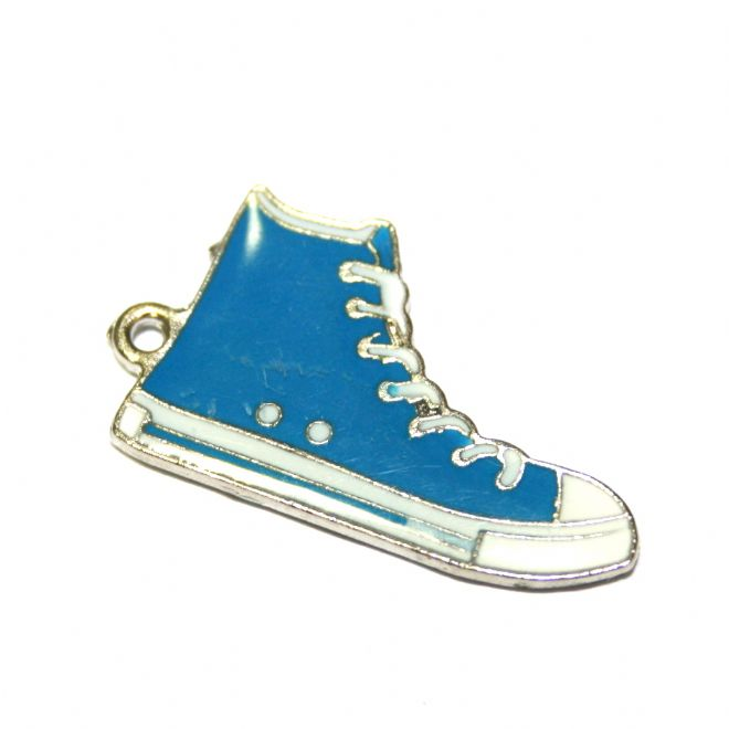 1pce x 26*16mm Rhodium plated blue baseball boot  enamel charm - double sided  - S.D03 - CHE1198